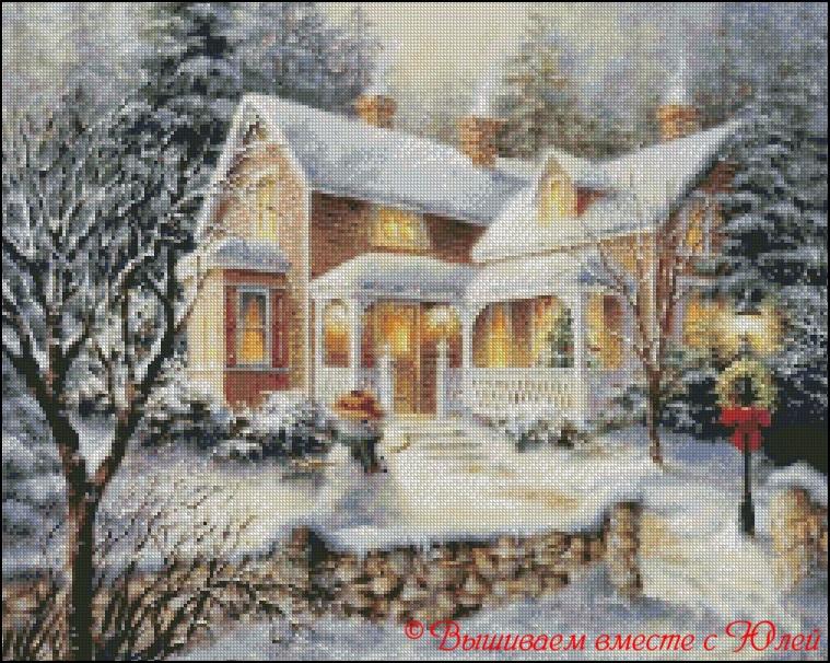 Зимний домик вышивка крестом